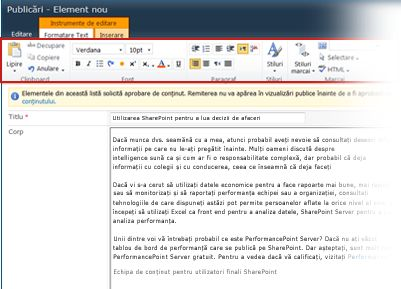 Editorul de text îmbogățit pentru bloguri