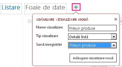 Adăugarea unei vizualizări Foaie de date a interogării la tabelul sursă.