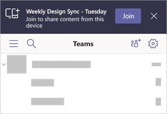 Un banner în teams spunând că sincronizarea săptămânală a designului-marți se află în apropiere, cu opțiunea de a vă asocia de pe dispozitivul mobil.