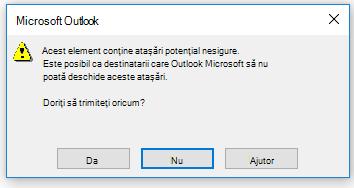 Avertisment despre atașări nesigure în Outlook