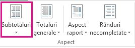Butonul subtotaluri din fila Proiectare