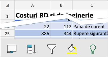 Foaie de lucru cu comenzile contextuale disponibile în partea de jos a ecranului