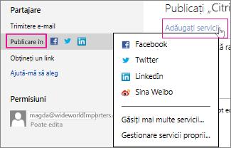 Publicarea prezentării într-o rețea socială
