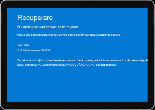"""Un ecran albastru cu titlul """"Recuperare"""" și un mesaj că dispozitivul dvs. trebuie să fie reparat."""