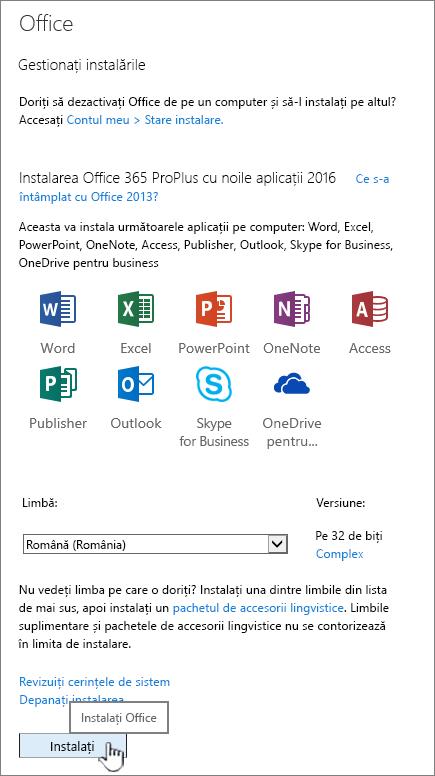 Pagina de software Office 365 pentru a descărca Office 2016