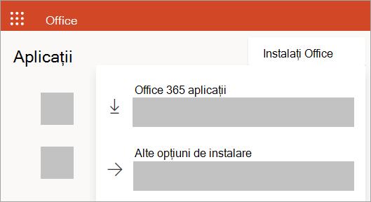 Captură de ecran a Office.com dacă vă conectați cu un cont de la locul de muncă sau de la școală