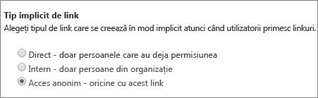 Caseta de dialog implicită tip de link
