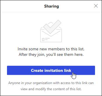 Linkul Creare invitație