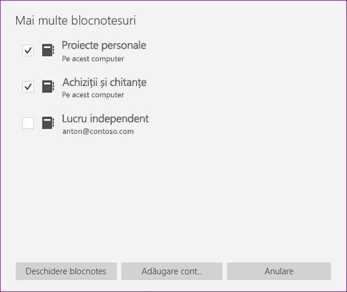 Captură de ecran a ferestrei de mai multe blocnotesuri în OneNote