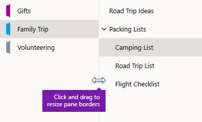 Redimensionarea panourilor de navigare în OneNote pentru Windows 10