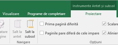 Apariția barei de instrumente Proiectare din Excel