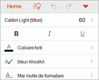 Meniul font din PowerPoint pentru iOS.