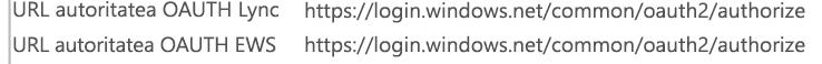 Informațiile de configurare a unei conferințe Skype pentru Business Client utilizând autentificarea modernă afișează o Lync și EWS OAUTH autoritate URL-ul https://login.windows.net/common/oauth2/authorize.