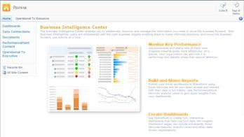 Business Intelligence Center, care conține informații utile și linkuri care vă ajută să începeți lucrul