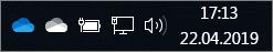 Clientul de sincronizare OneDrive, cu pictogramele nor albastru și nor alb
