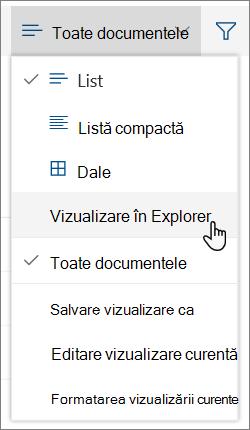 Meniul toate documentele cu deschidere în Explorer evidențiat