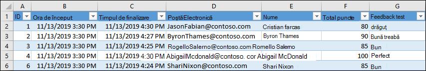 Registru de lucru Excel care afișează rezultatele testului
