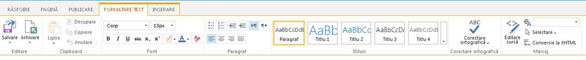 Captură de ecran de pe fila formatare Text, care conține numeroase butoane pentru formatarea textului