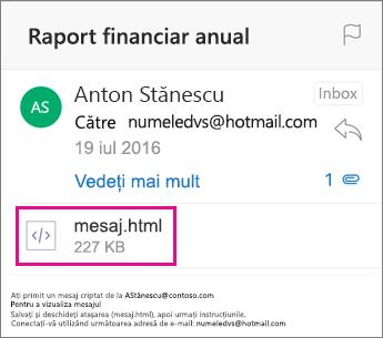 Vizualizator OME pentru Outlook pentru iOS 1