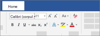 Opțiunile de pe panglica Word de formatare a textului