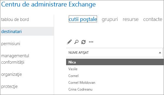 Găsiți cutiile poștale din Centrul de administrare Exchange pentru a remedia DSN 5.7.134