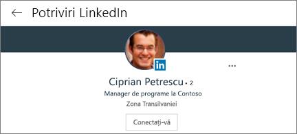 Fișă de profil care afișează fotografia, titlul și butonul de conectare pentru LinkedIn
