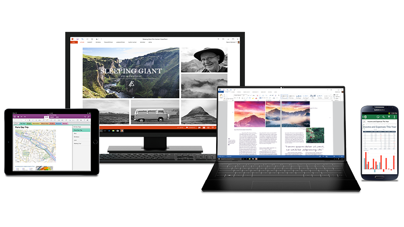Fotografii de pe computer, iPad și telefonul Android cu documente Office deschise pe ecran