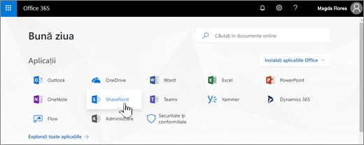Pagina de pornire Office 365 cu SharePoint selectat