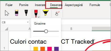 Captură de ecran a meniului Desenare din Excel pentru web