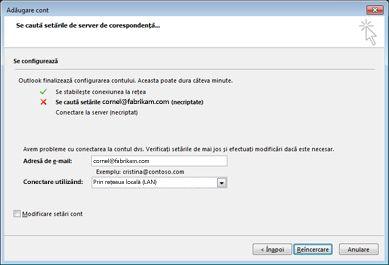 Caseta de dialog Adăugare cont nou care indică faptul că nu poate fi configurat contul