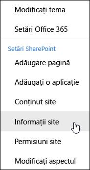Linkul informațiilor din site-ul SharePoint