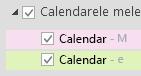 Calendarele dvs. sunt listate sub Calendarele mele. Bifați casetele de selectare pentru calendarele pe care doriți să le vedeți.
