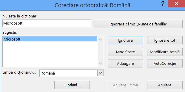 Caseta de dialog Verificare ortografică