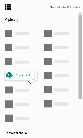 Lansatorul de aplicații Office 365 cu aplicația SharePoint evidențiată
