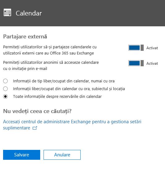 În pagina Calendar, configurați setările necesare pentru situația dvs.
