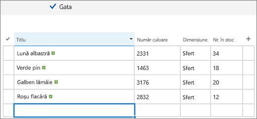 Editare rapidă ecranul cu coloane și date adăugate