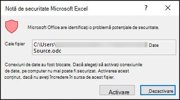 Notificare de securitate Microsoft Excel-indică faptul că Excel a identificat o problemă de securitate potențială. Alegeți activare dacă aveți încredere în locația fișierului sursă, dezactivați dacă nu faceți acest lucru.