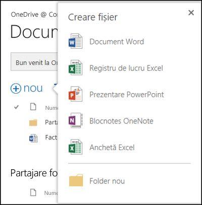 Opțiunile Office Online pe care le puteți utiliza din butonul Nou din OneDrive pentru business