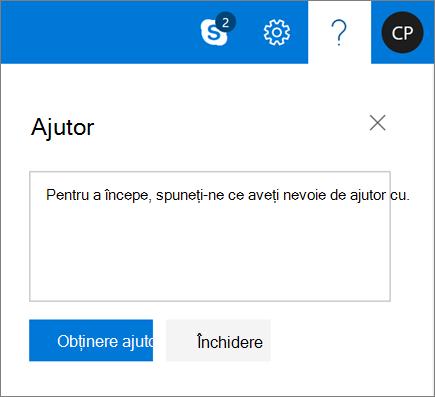 O captură de ecran care afișează caseta de dialog Ajutor, unde puteți introduce informații despre o problemă și selecta apoi butonul Obțineți ajutor.