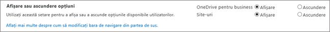 Setări de SharePoint SPO secțiunea opțiuni de Afișare/Ascundere