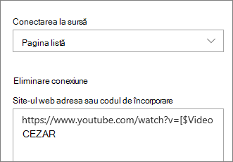 Panoul de proprietăți al părții Web embed afișând lista conectată
