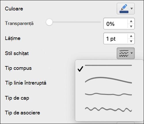 Opțiunile de formatare a liniei pe Mac cu stilul schițat selectat
