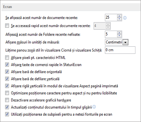 Word 2013 display options