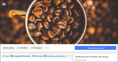 Captură de ecran: Microsoft Bookings după conectarea la pagina de Facebook.