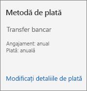 Secțiunea Metodă de plată dintr-o fișă de abonament pentru un abonament plătit cu factură.