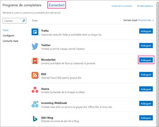 Captură de ecran cu serviciile conectate disponibile în Outlook 2016