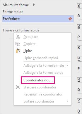 Faceți clic dreapta în fereastra Forme, sub lista de tipare, apoi faceți clic pe Coordonator nou.