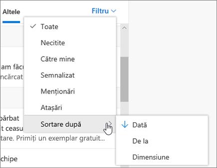 Filtrarea e-mailului în Outlook pe web
