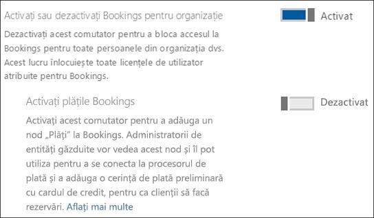 Captură de ecran: afișând rezervările admin control de pe pagina de servicii și programe de completare