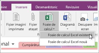 Captură de ecran a butonului Inserare foaie de calcul în OneNote 2016.
